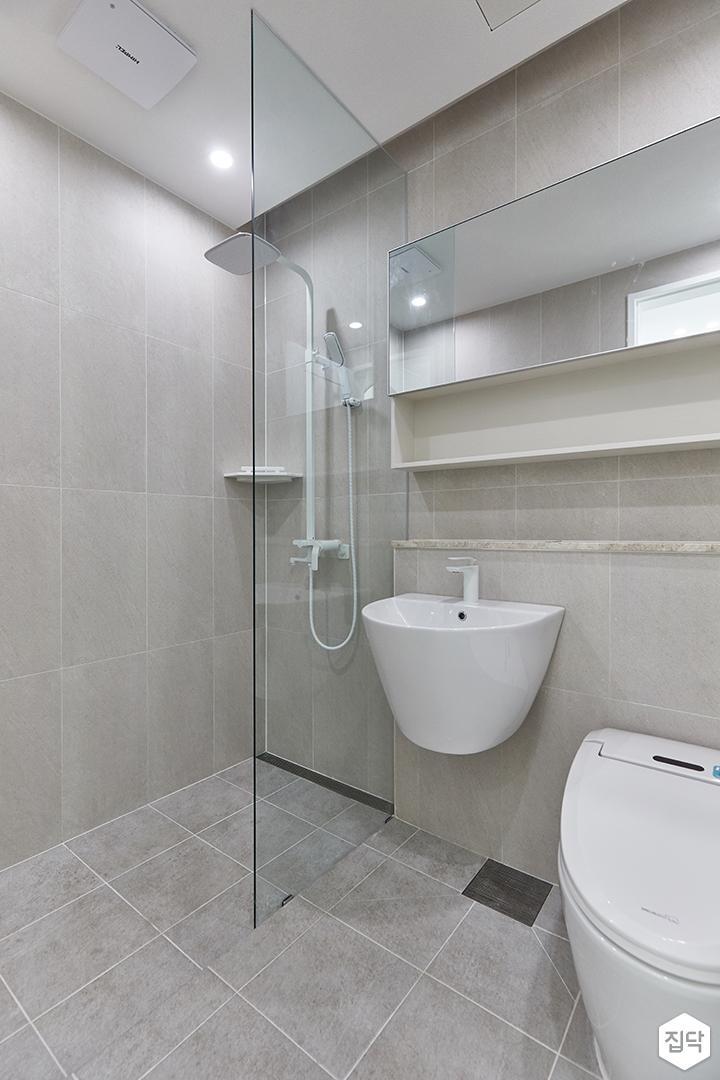 아이보리,모던,욕실,포세린,세면대,거울,유리파티션