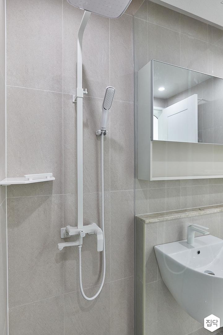 아이보리,모던,욕실,포세린,샤워기,유리파티션
