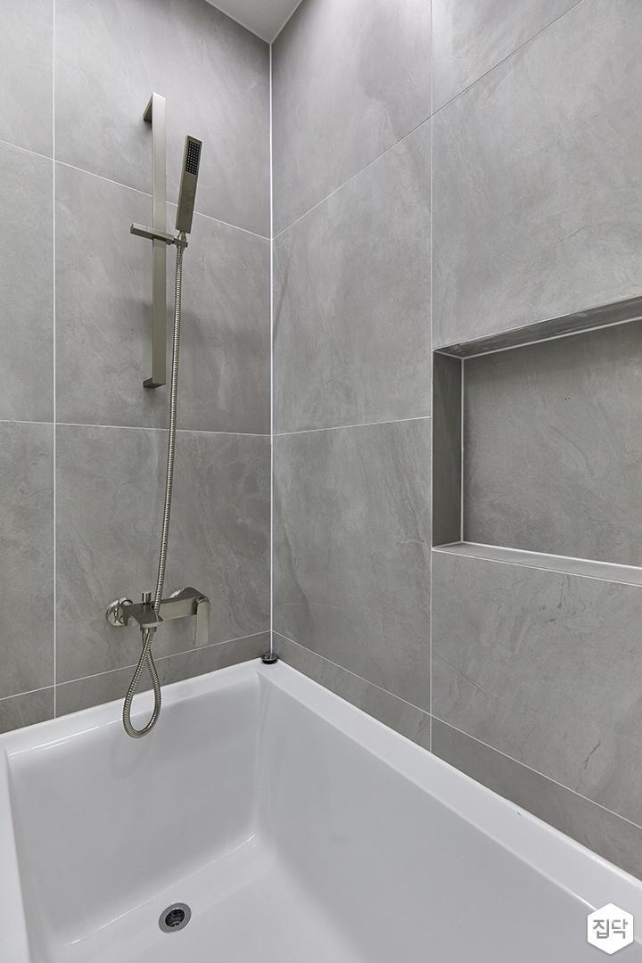 그레이,모던,욕실,포세린,샤워기,욕조