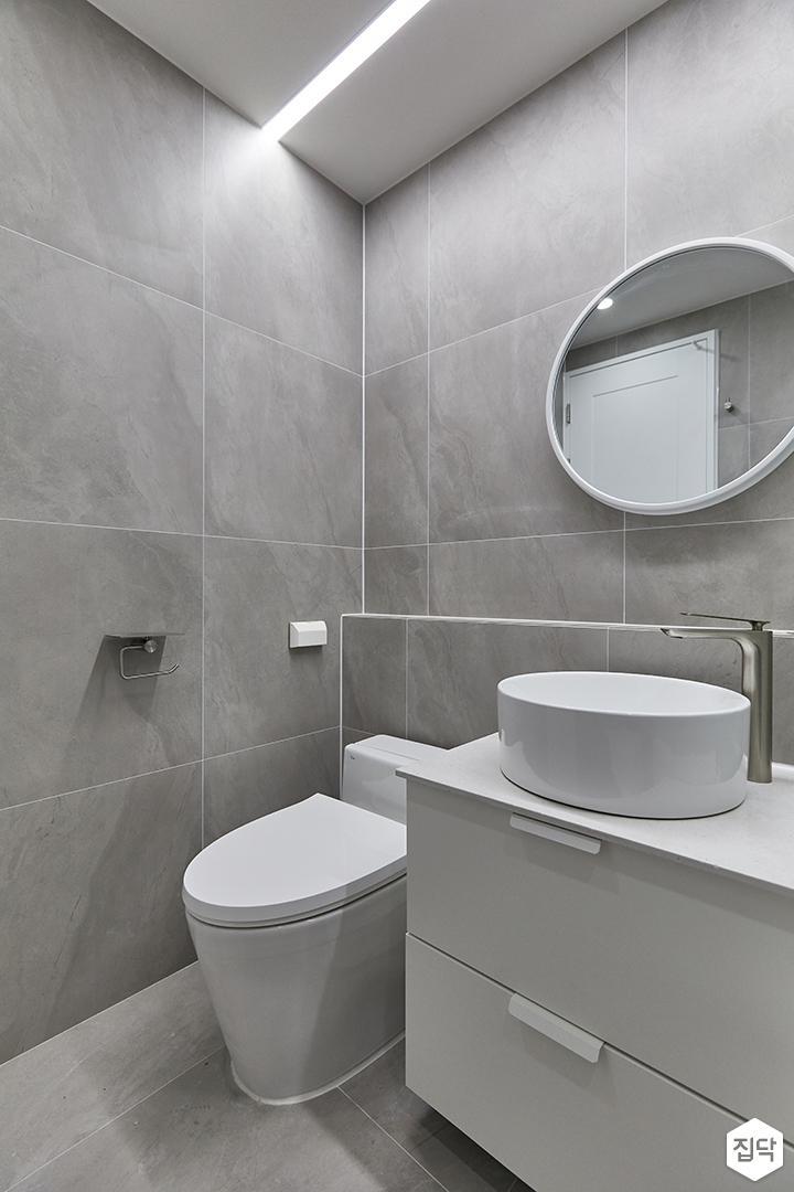 그레이,모던,욕실,포세린,세면대,거울,수납장