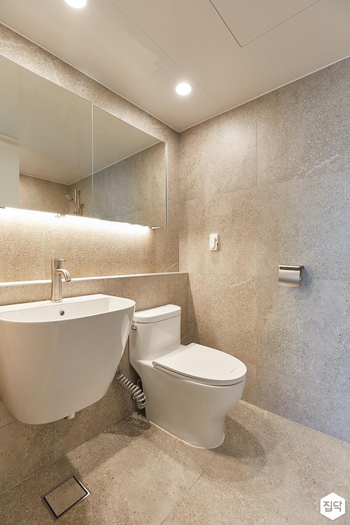 아이보리,모던,내추럴,욕실,포세린,간접조명,세면대,거울
