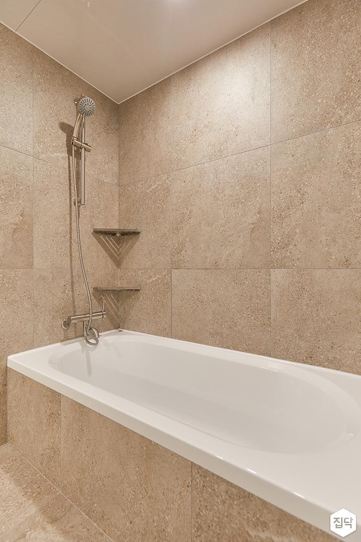 아이보리,모던,내추럴,욕실,포세린,욕조,샤워기