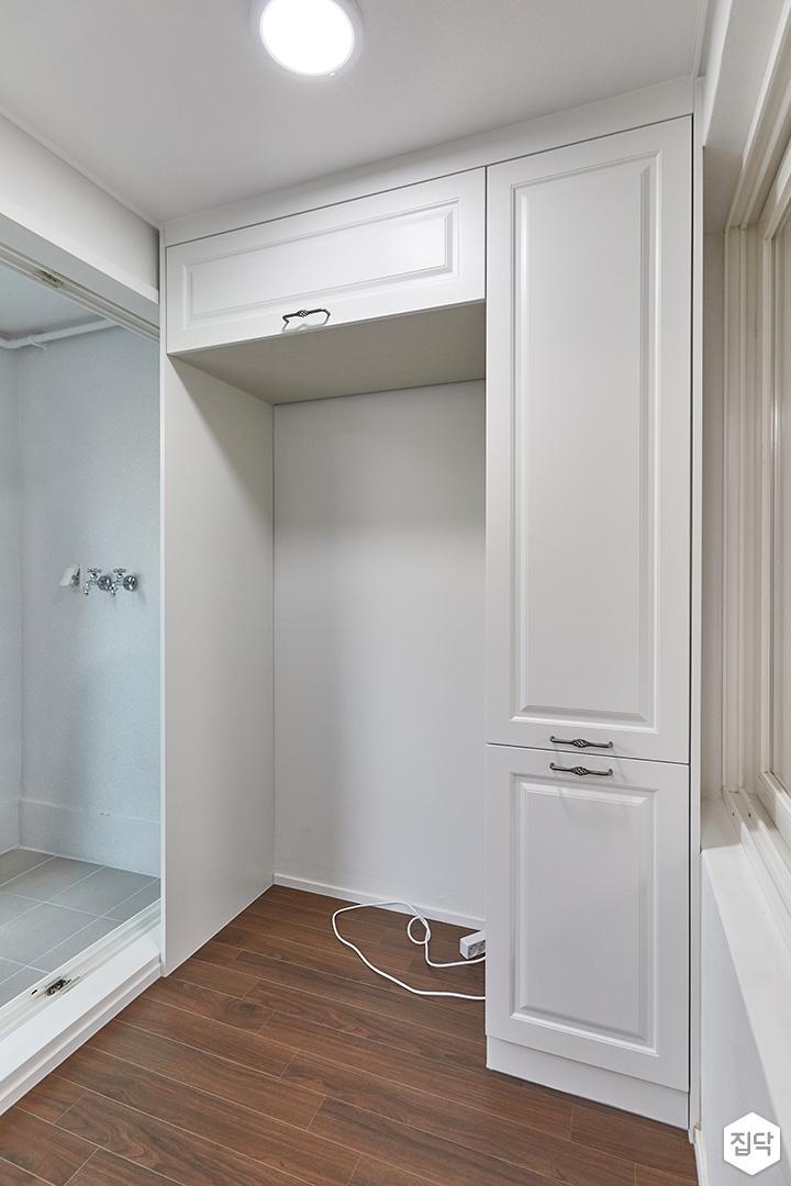 화이트,뉴클래식,주방,수납장,냉장고장
