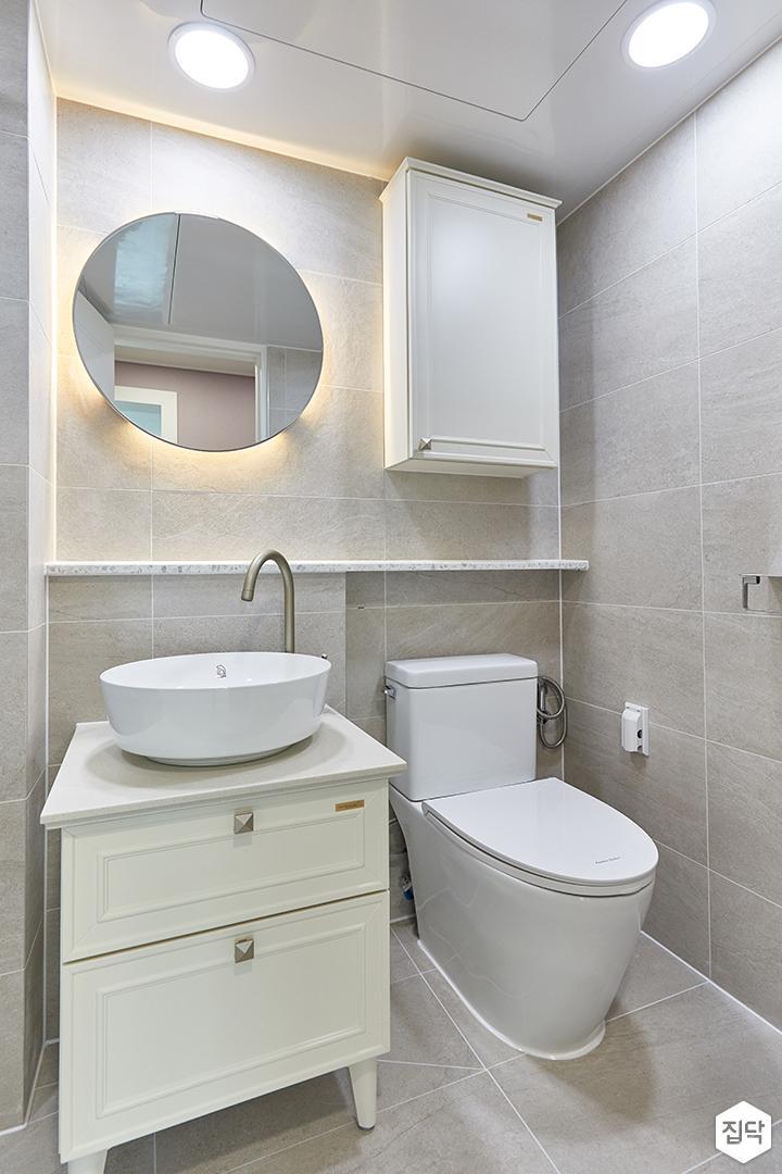 그레이,모던,욕실,포세린,간접조명,거울,세면대,수납장