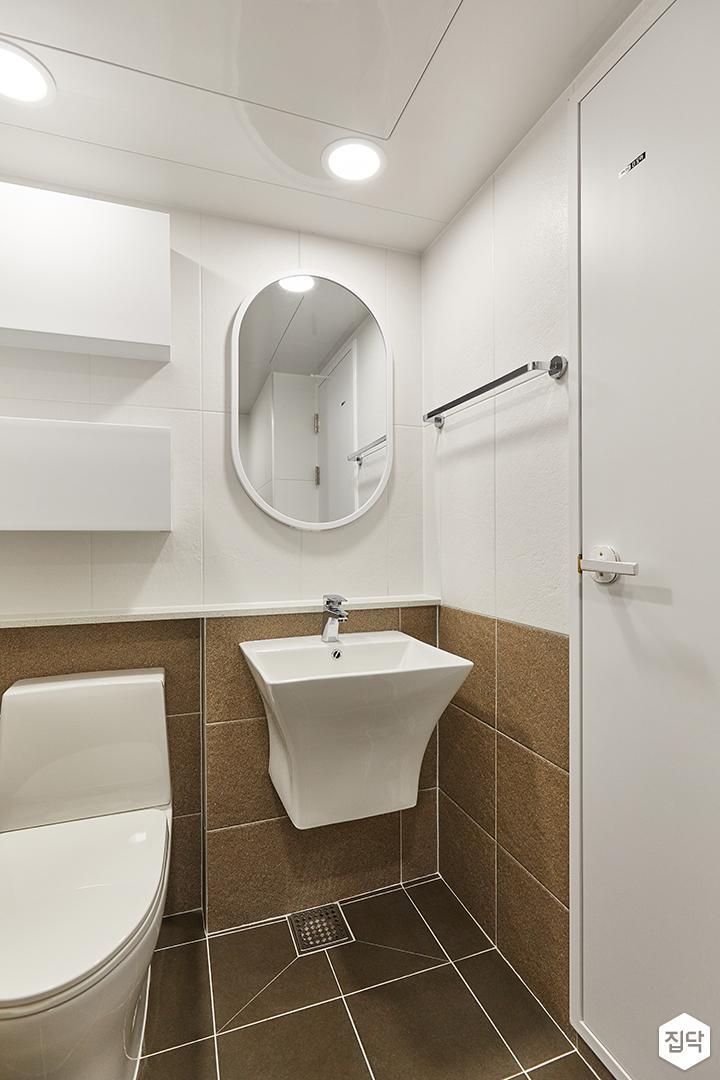 화이트,브라운,모던,욕실,포세린,세면대,거울,수납장