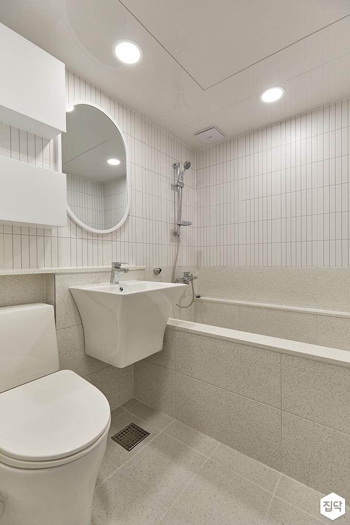 화이트,아이보리,모던,욕실,포세린,세면대,거울,욕조