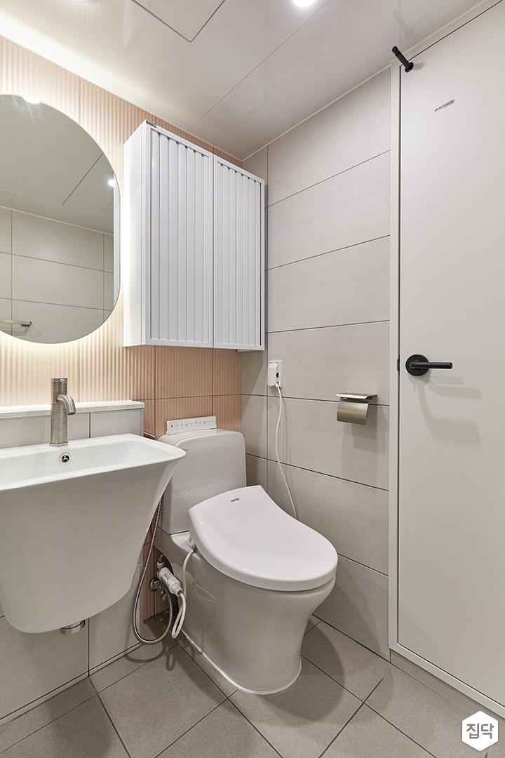 화이트,핑크,모던,욕실,욕실타일,간접조명,세면대,거울