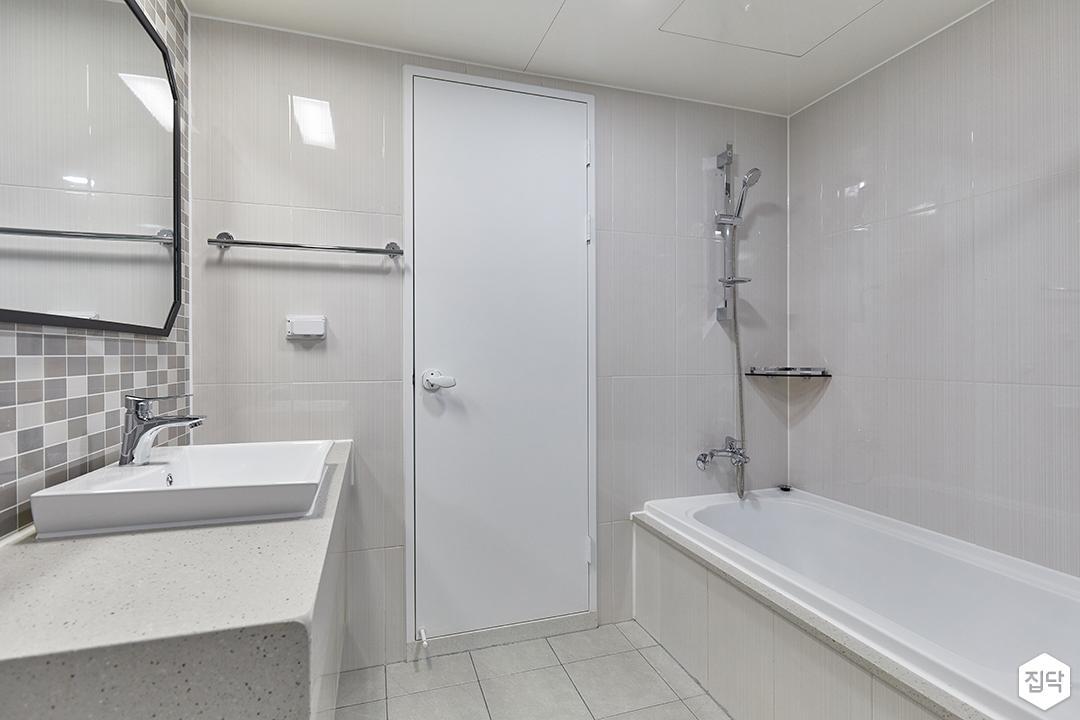 화이트,모던,욕실,세면대,욕조