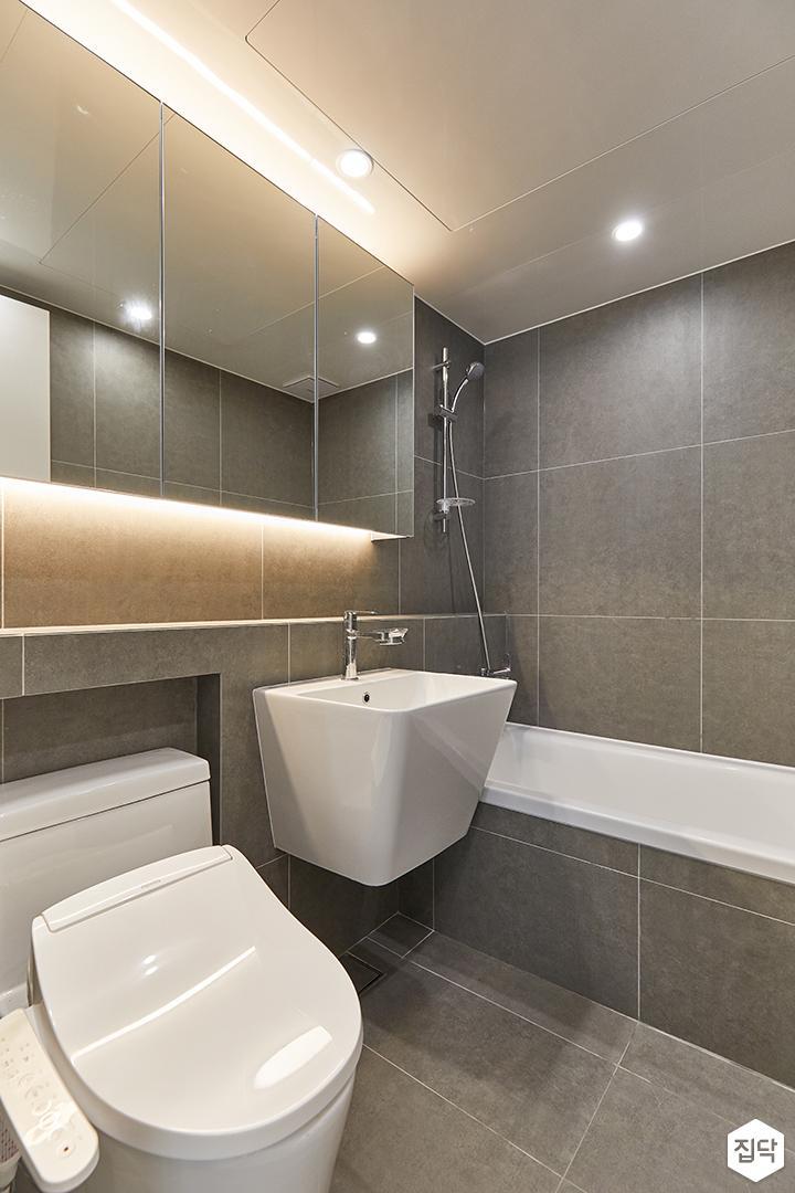 그레이,모던,욕실,욕실타일,포세린,간접조명,세면대,욕조