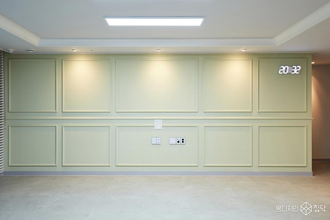 포세린타일,LED조명,웨인스코팅,올리브,우물천장,다운라이트조명