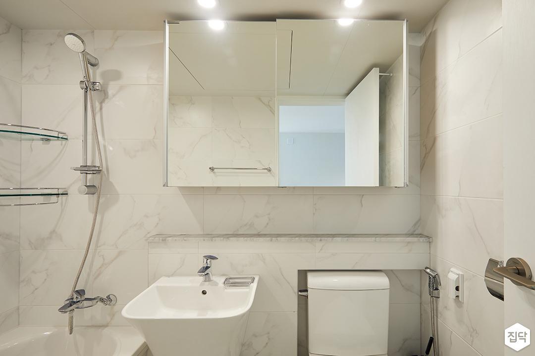 거울장,코너선반,젠다이,세면대,욕실,화이트,모던