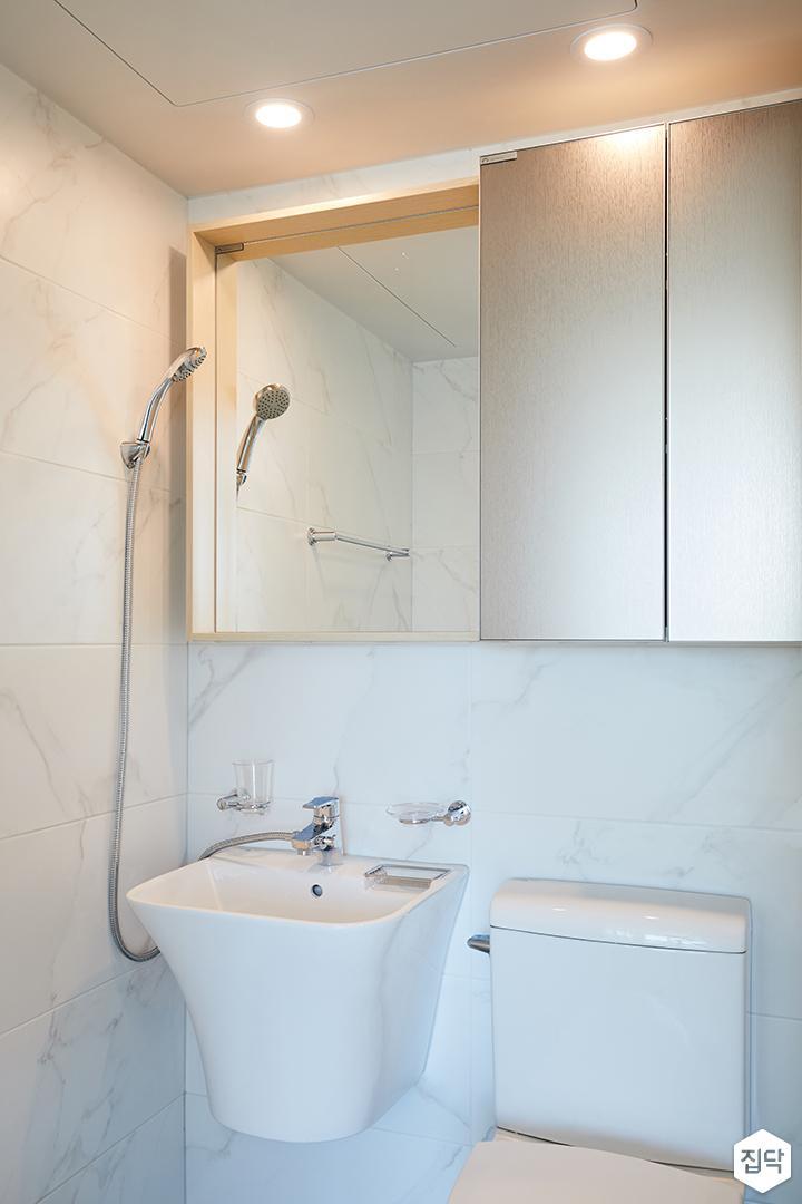 다운라이트조명,거울장,세면대,비앙코,욕실타일,화이트