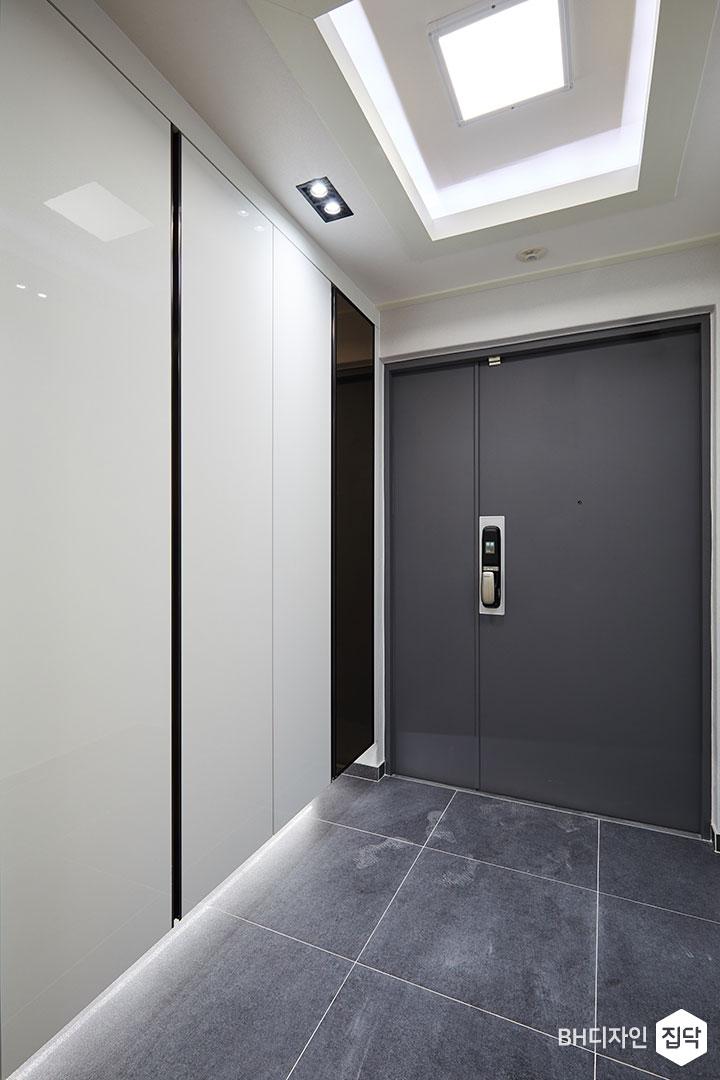 LED조명,우물천장,간접조명,붙박이신발장,방화벽,다크그레이,포세린타일