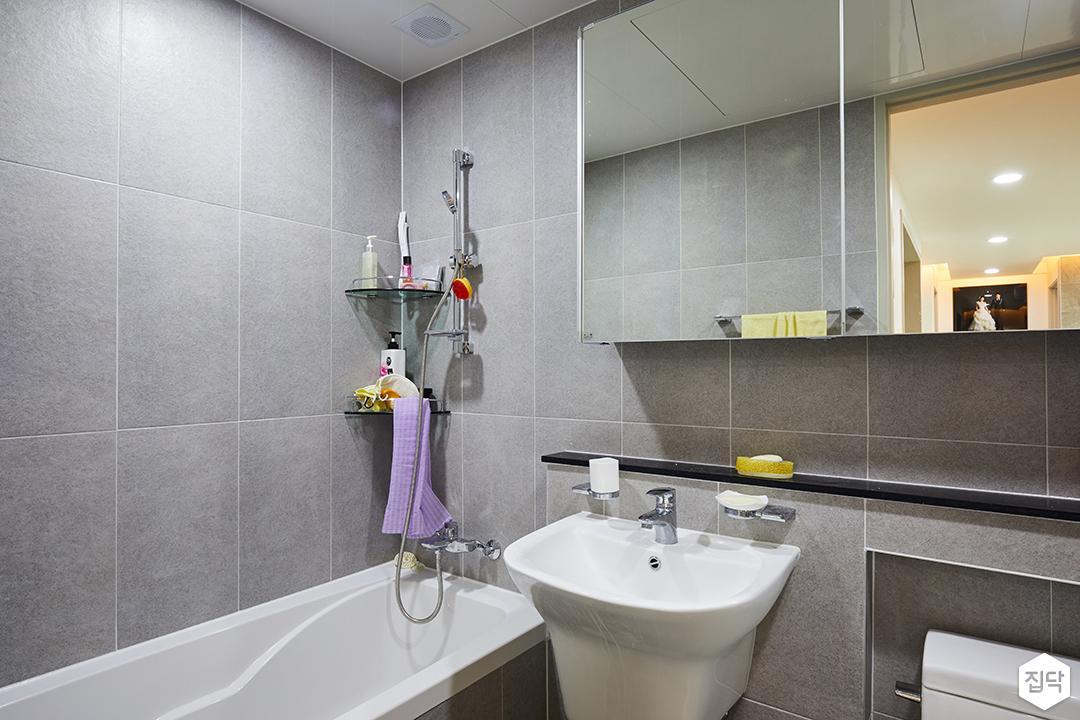 욕조,젠다이,거울장,코너선반,욕실,그레이,모던