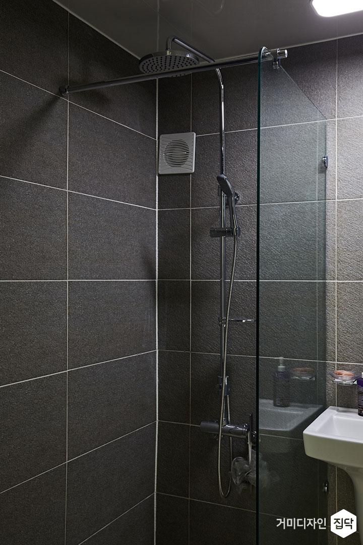 욕실,모던,다크그레이,파티션,샤워공간