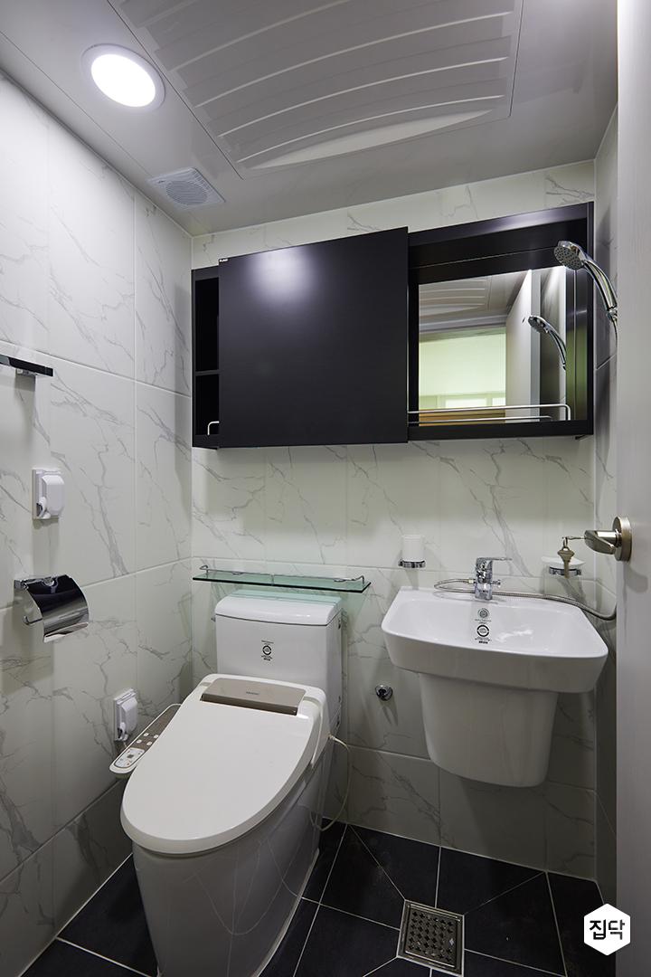 욕실,화장실,포인트타일,슬라이딩장,블랙,반다리세면대