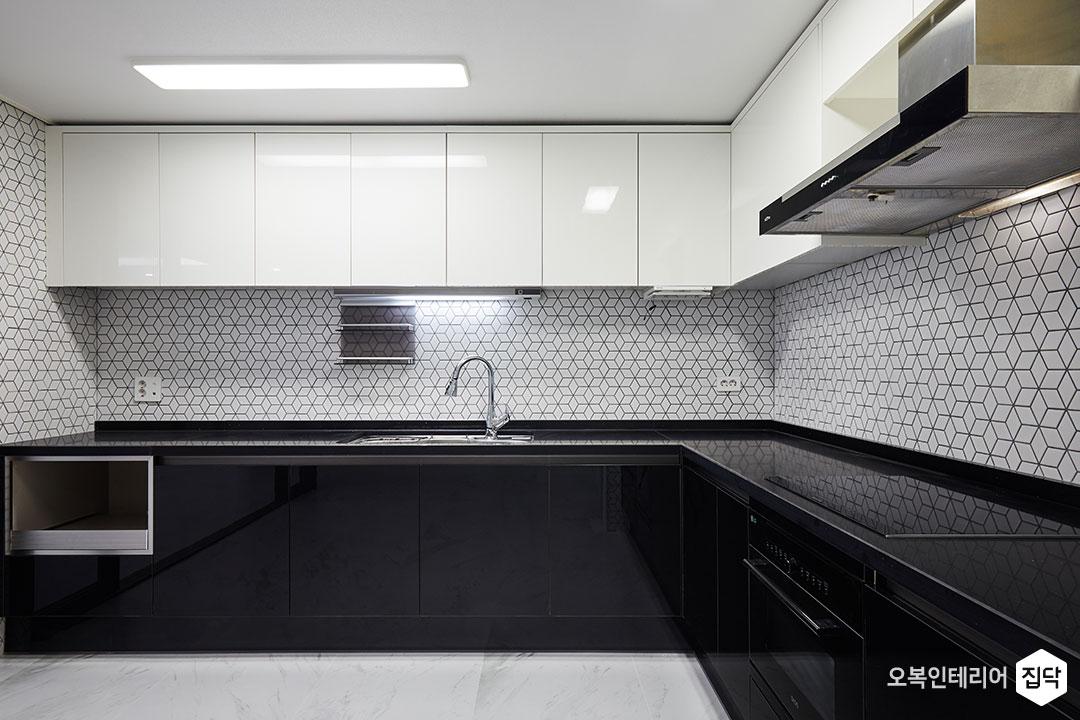주방,씽크대,상부장,하부장,화이트,블랙,LED