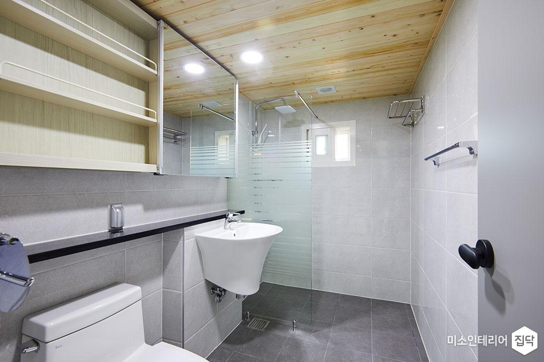 욕실,화장실,환풍기,편백나무,천장,타일,그레이
