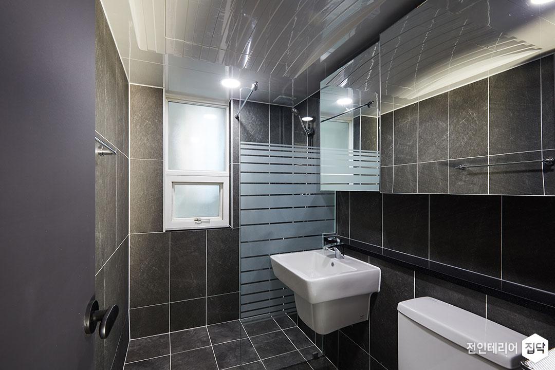 욕실,모던,블랙,샤워파티션,슬라이딩거울장,젠다이,그레이