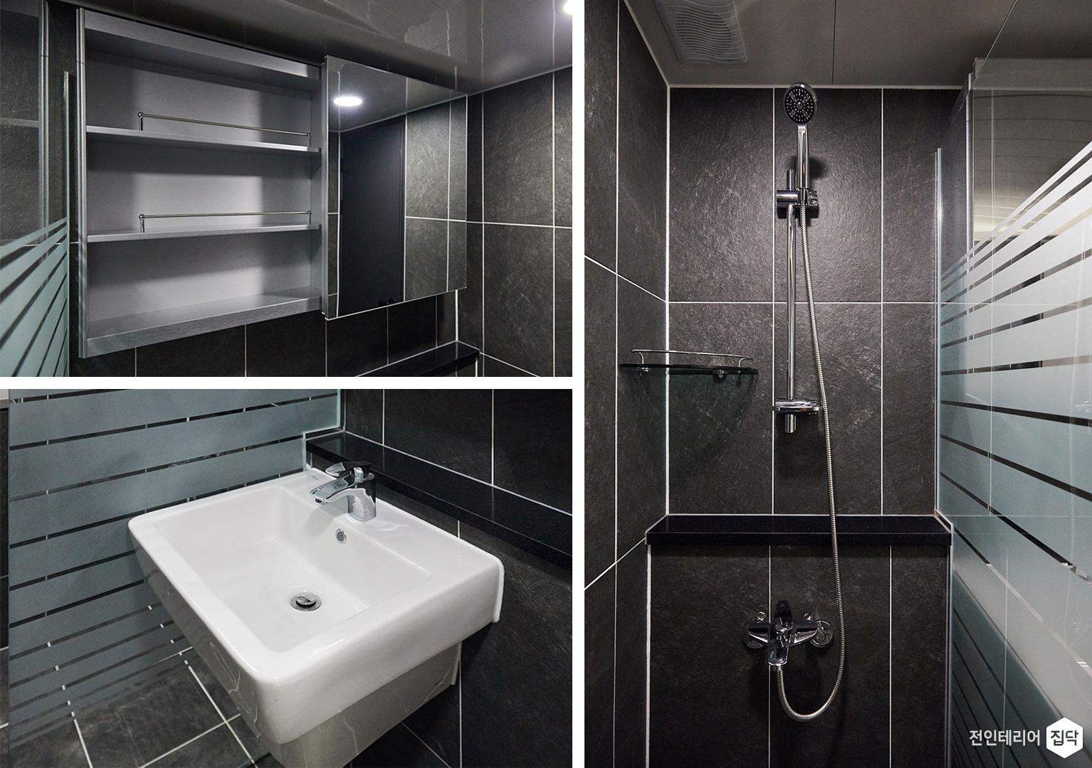 욕실,샤워파티션,젠다이,슬라이딩거울장,블랙