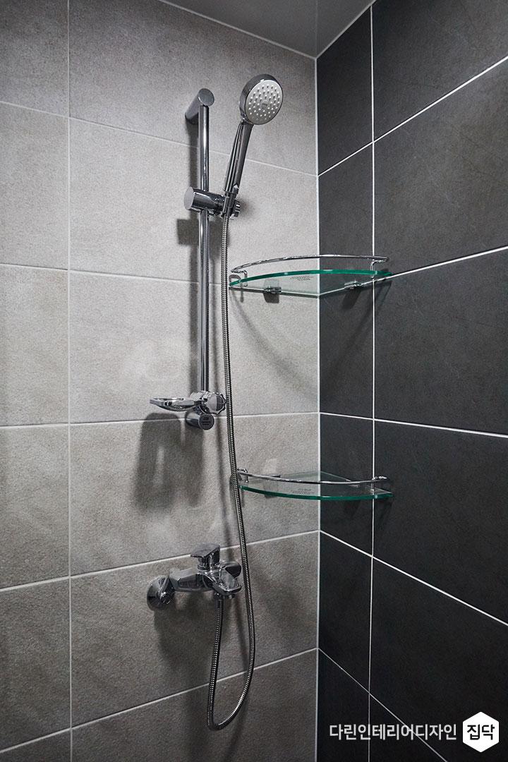 샤워공간,코너선반,그레이