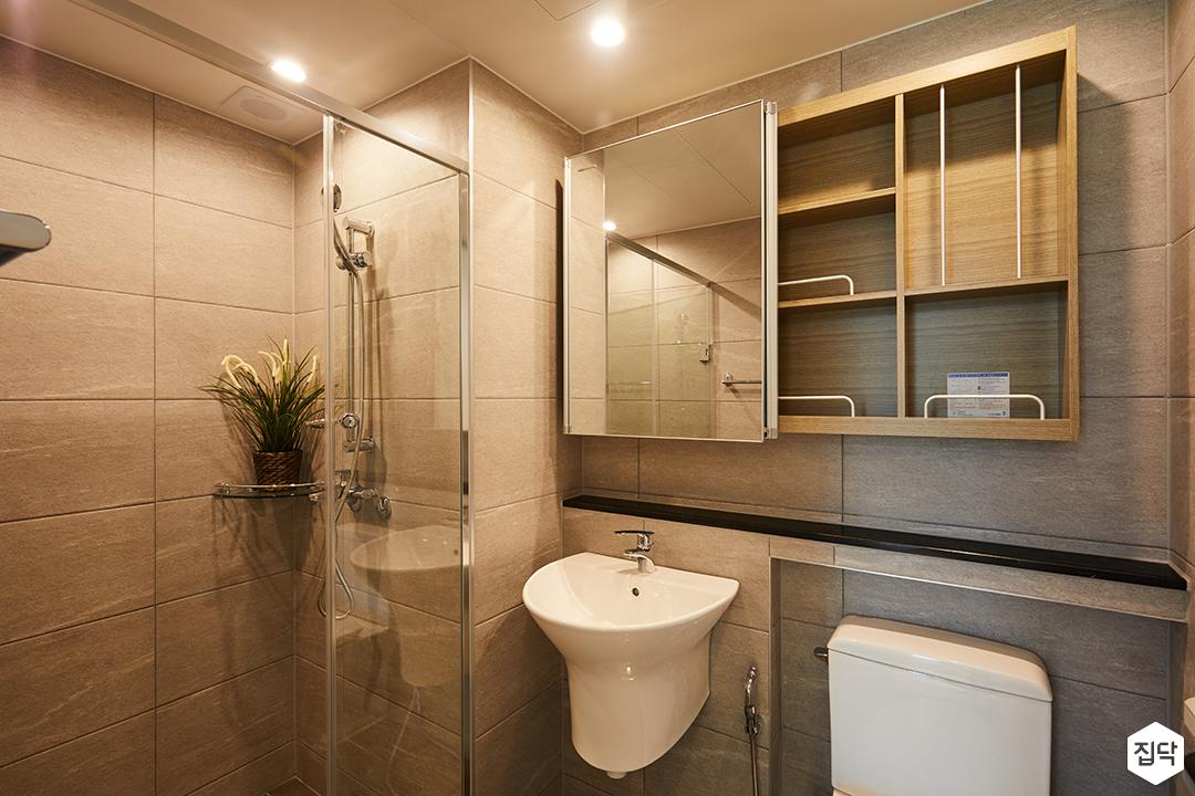 욕실,식물,젠다이,베이지,코너선반,샤워부스