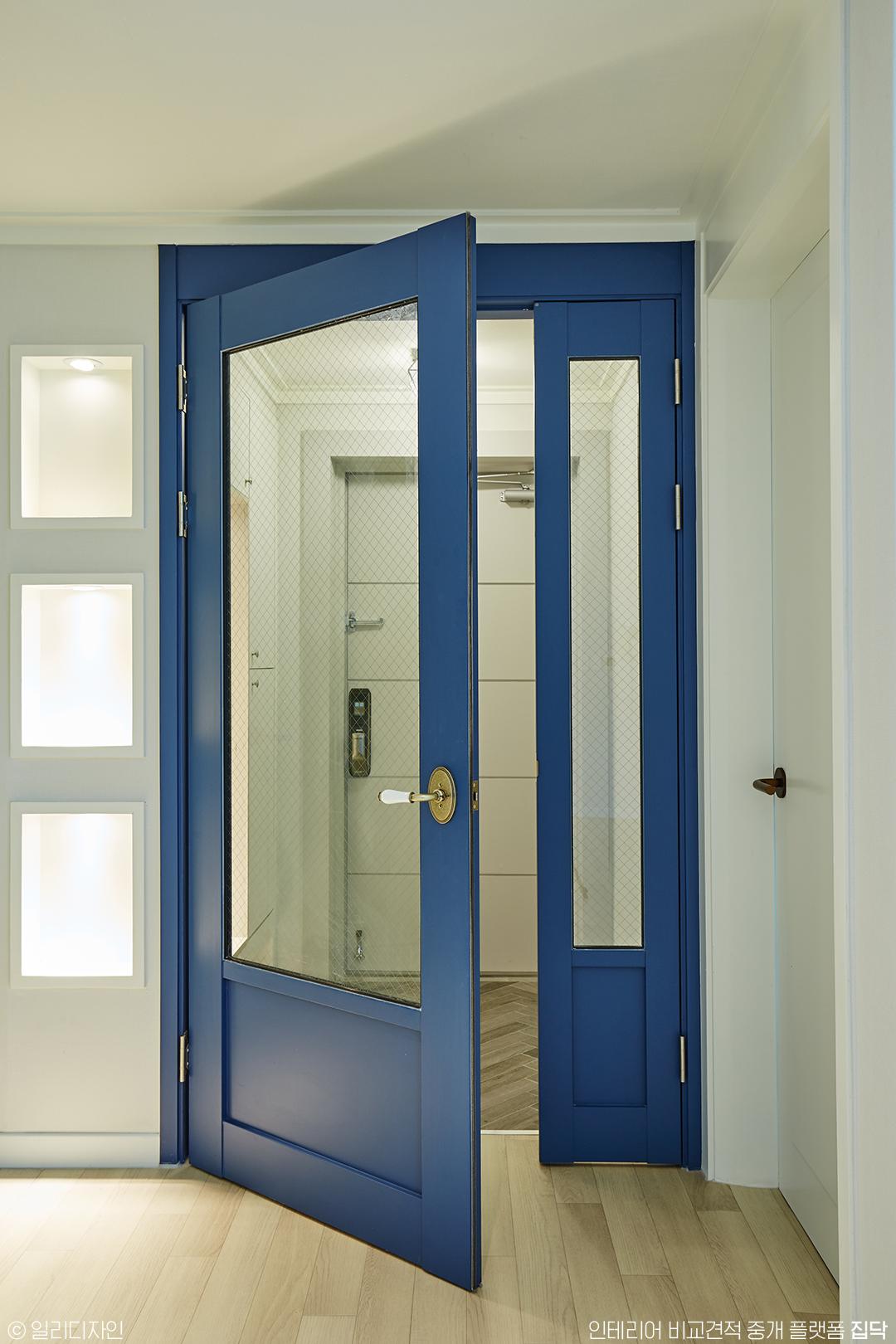 블루,비대칭중문,중문,포인트,현관