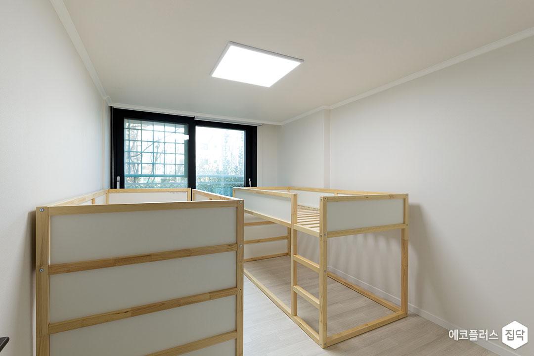 아이방,아이보리,심플,2층침대,맞춤시설제작,LED조명