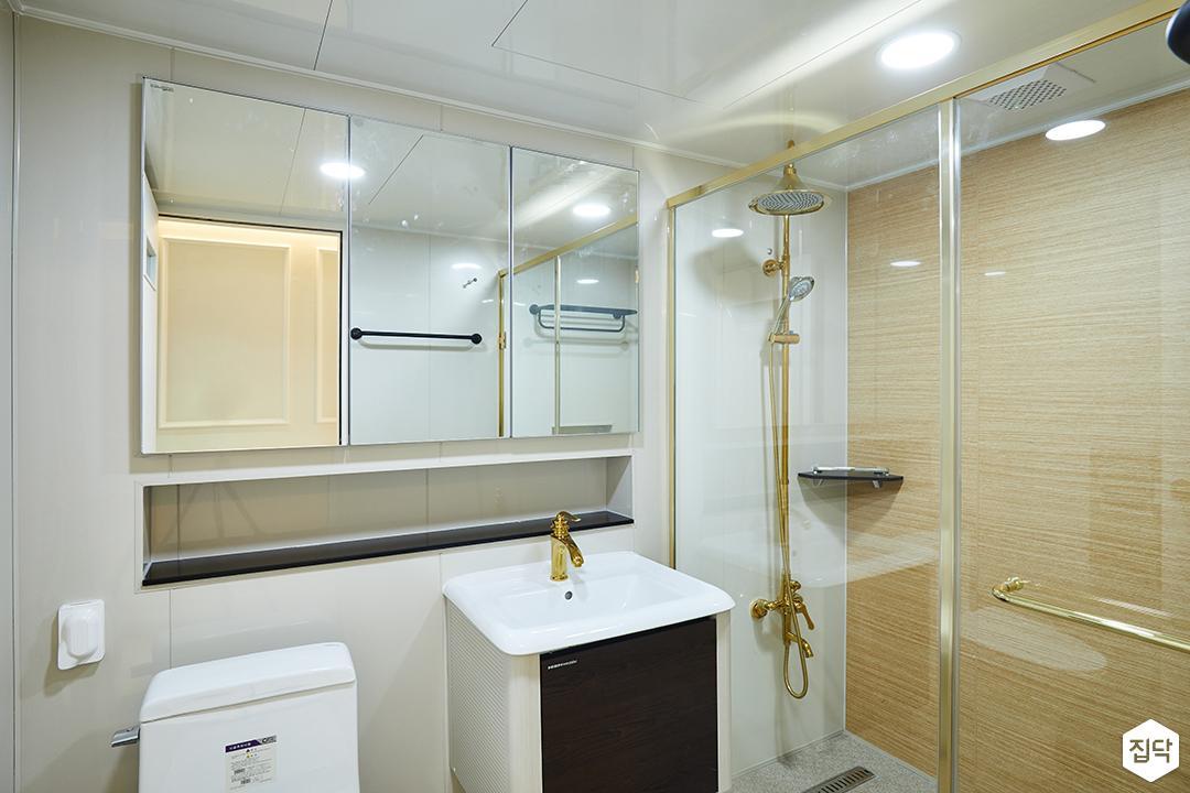 욕실,골드포인트,매립형선반,세면대,샤워부스,유리파티션