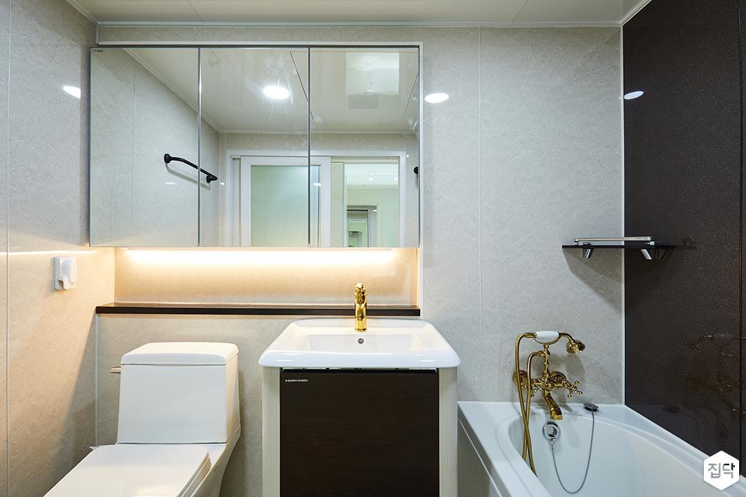 안방욕실,간접조명,세면대,골드수전,욕조