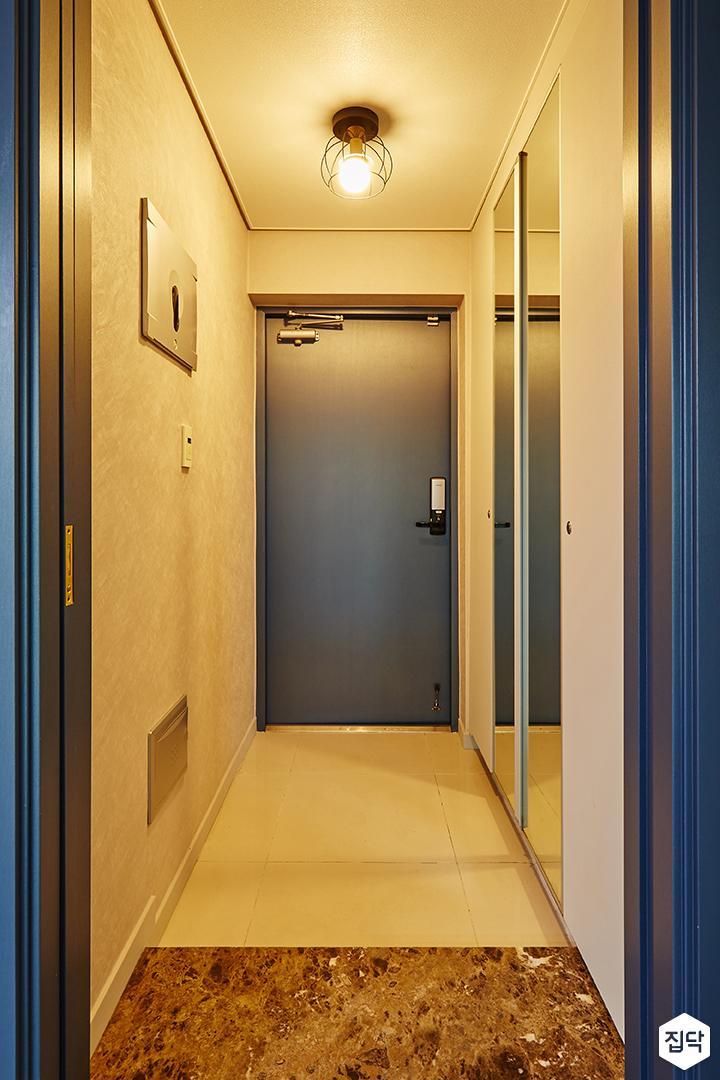 블루,현관,방화문,중문,현관장,심플