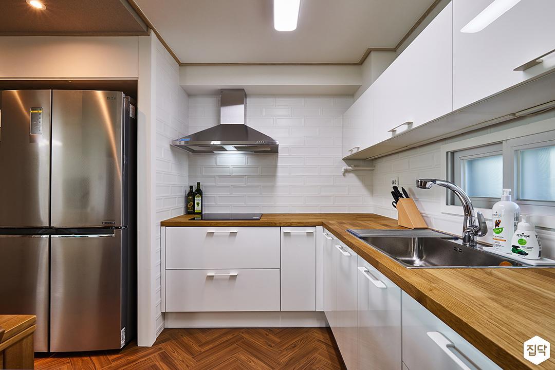 ㄱ자싱크대,화이트,원목상판,침니후드,냉장고장