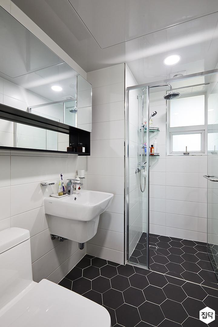 욕실,헥사곤패턴,화이트,샤워부스,유리파티션
