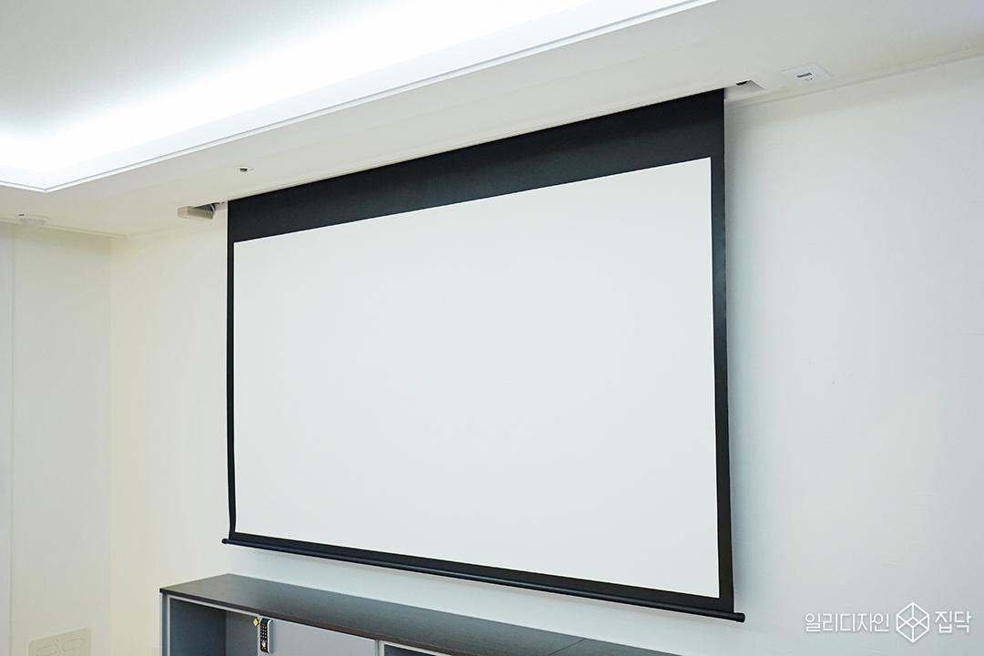 거실,TV,빔프로젝터,스크린,심플