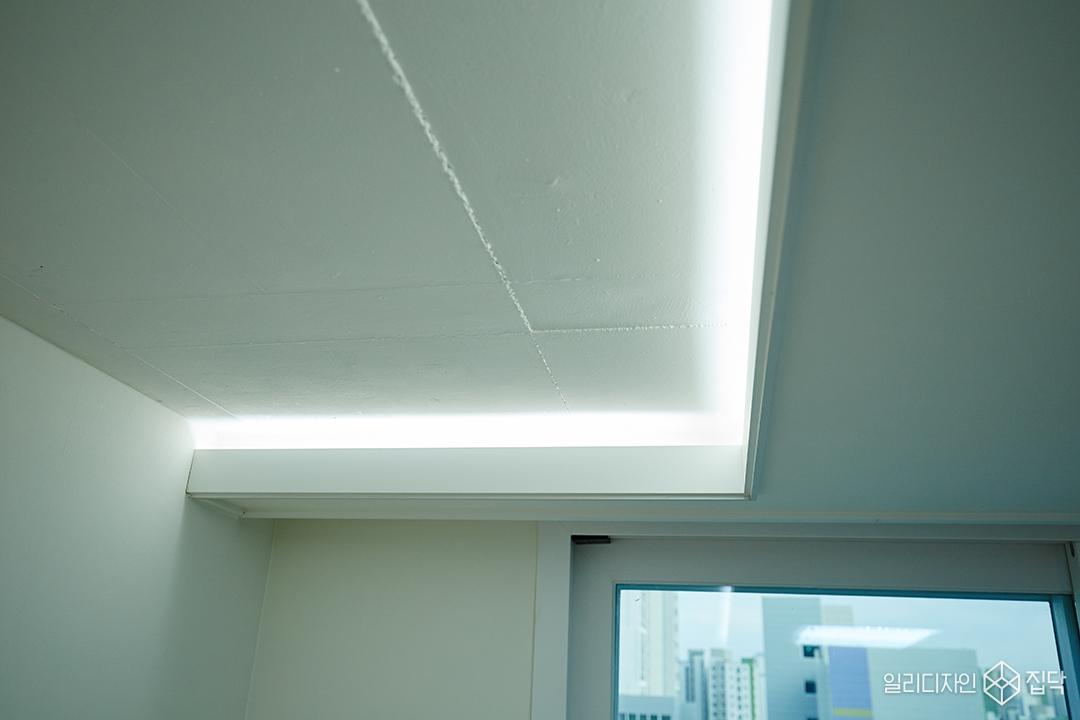 노출천장,콘크리트,간접조명,천장,아이방