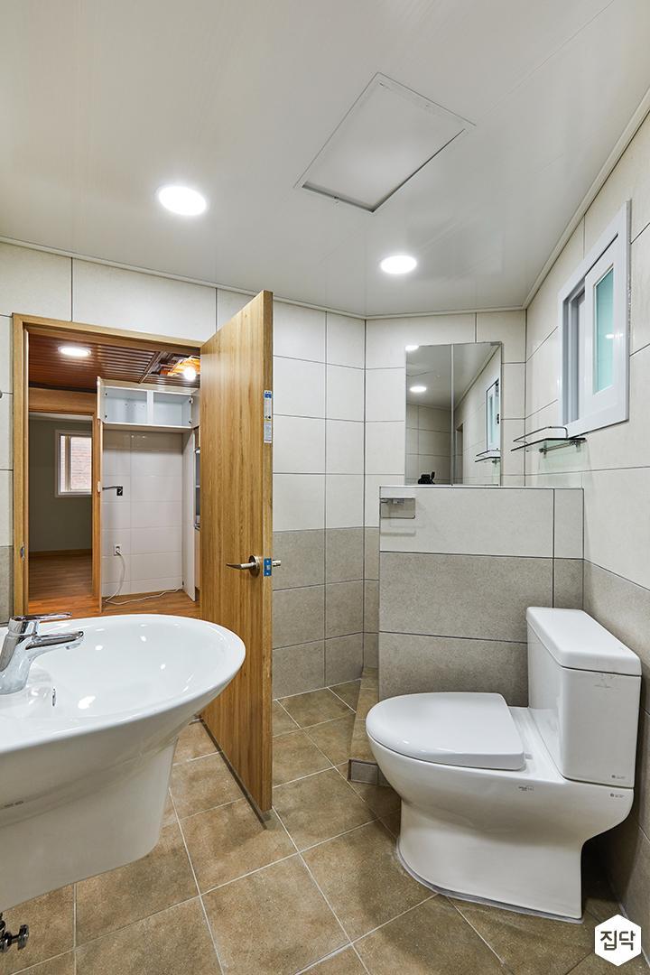 욕실,심플,투톤,그레이,화이트,양변기,가벽,샤워부스