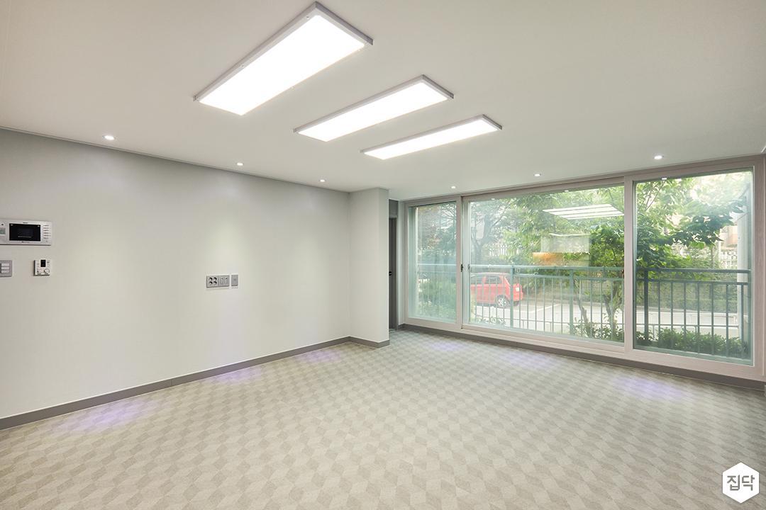 거실,그레이,모던,led조명,디자인장판,다운라이트조명