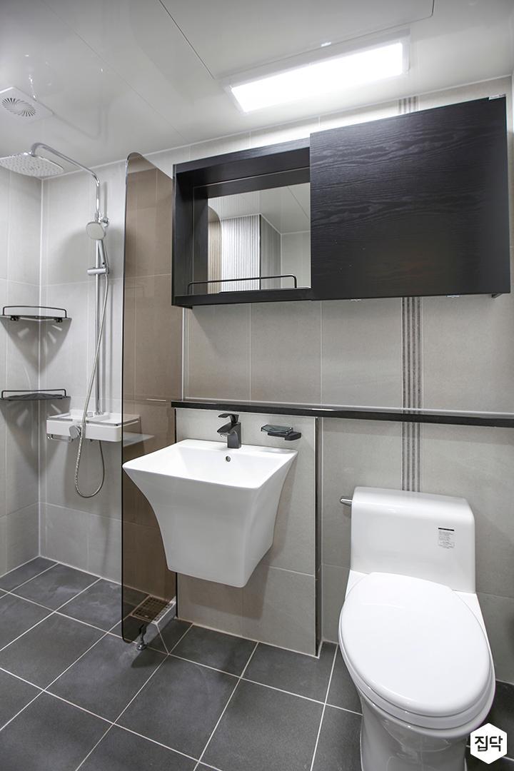 욕실,그레이,모던,수납장,블랙,유리파티션,젠다이,세면대,양변기,코너선반,해바라기샤워기