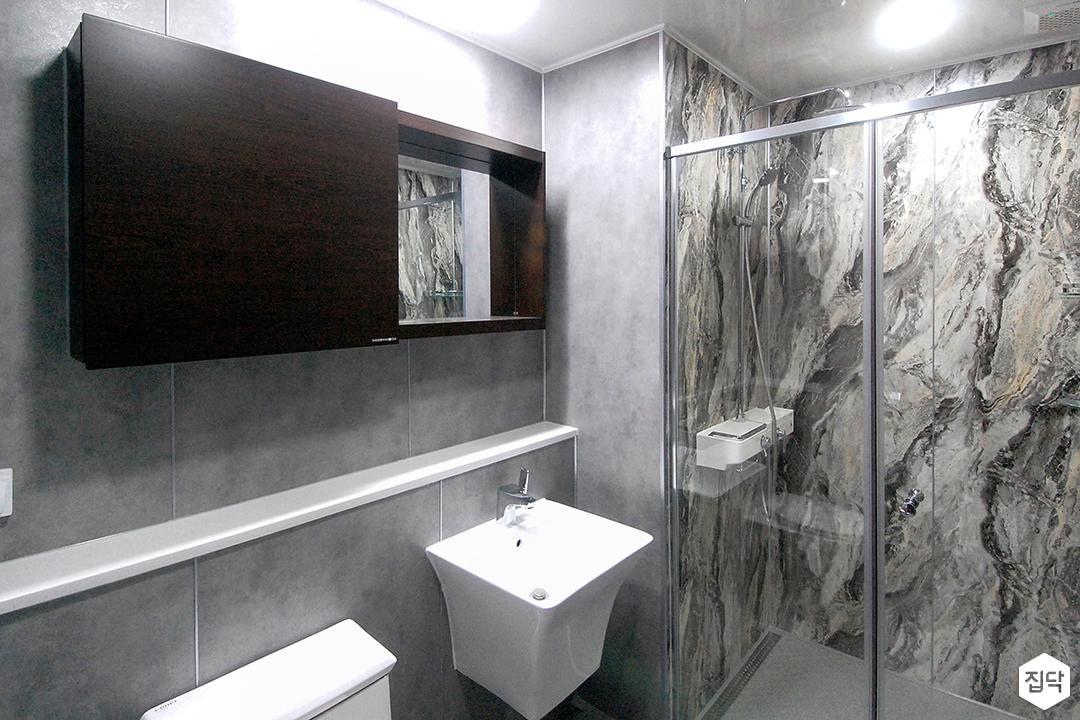 욕실,그레이,모던,수납장,샤워부스,유리파티션,마블패턴,세면대