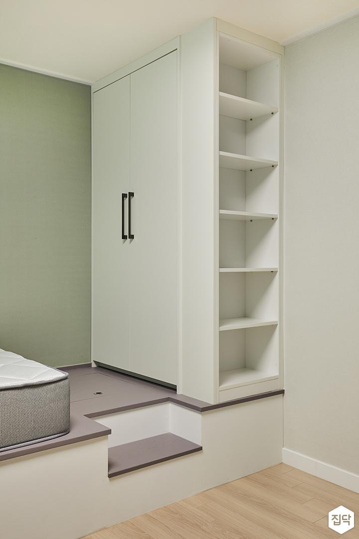 방,그레이,모던,그린,붙박이장,책장,맞춤가구,침대