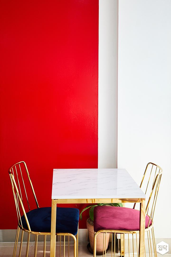 내부,화이트,심플,커튼,의자,테이블,PVC타일,레드,골드,대리석