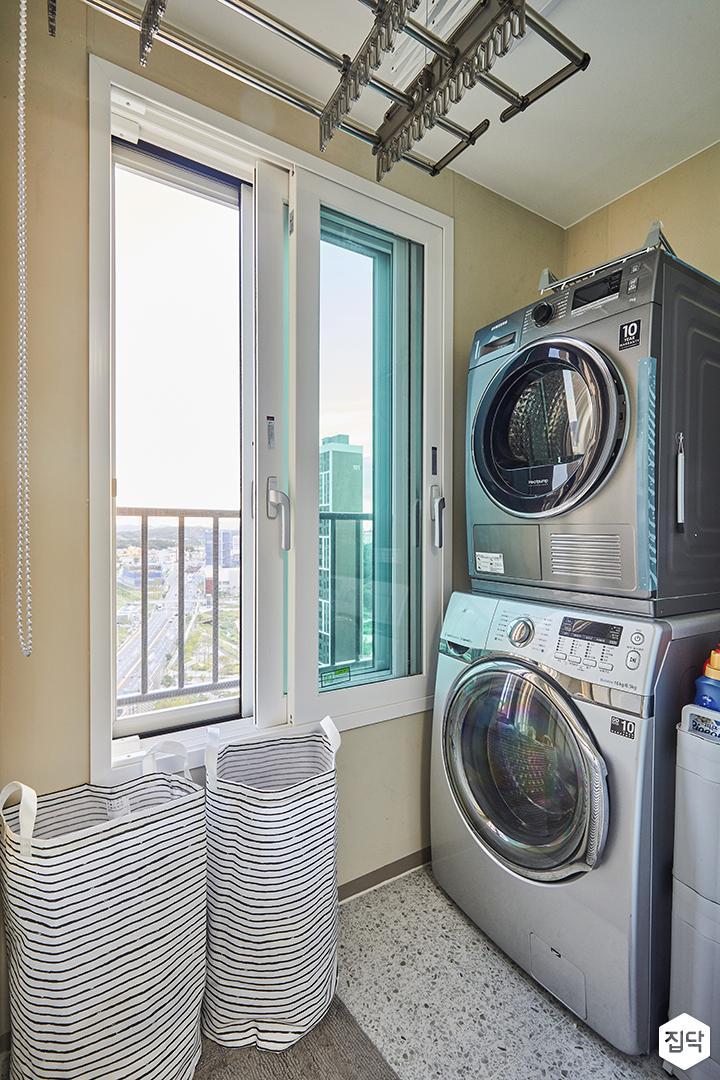발코니,베이지,심플,탄성코트,샤시,세탁기