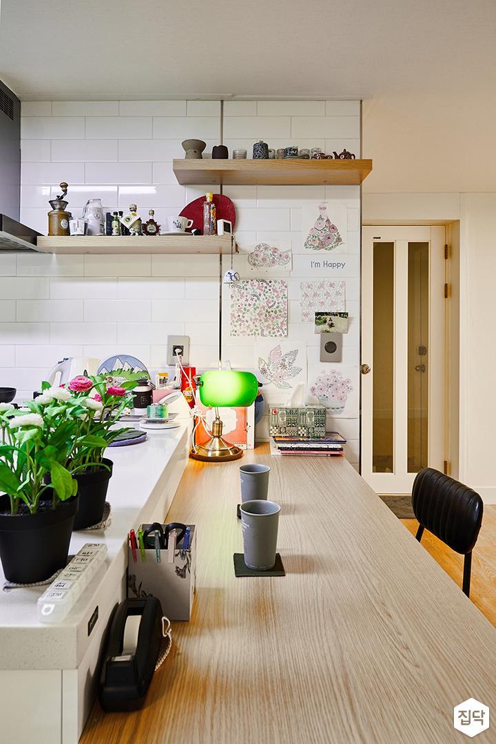 주방,화이트,심플,식탁,의자,목재