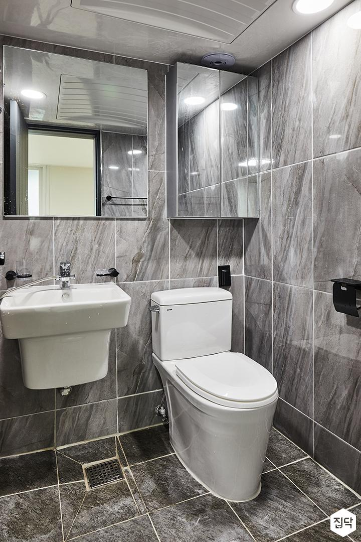 모던,심플,그레이,욕실,양변기,슬라이딩거울장,세면대,간접조명
