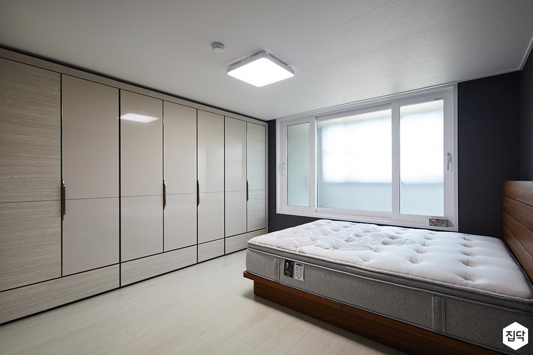 모던,심플,붙박이장,하이그로시,간접조명,침대