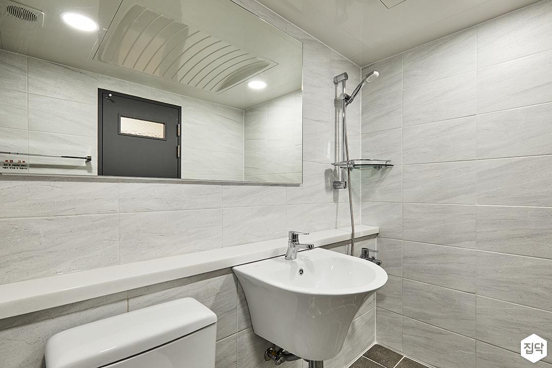 욕실,그레이,모던,젠다이,세면대,샤워기,코너선반,마블패턴