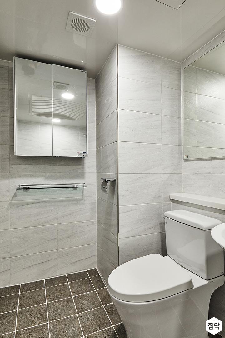 욕실,그레이,모던,마블패턴,거울수납장,선반,휴지걸이,양변기