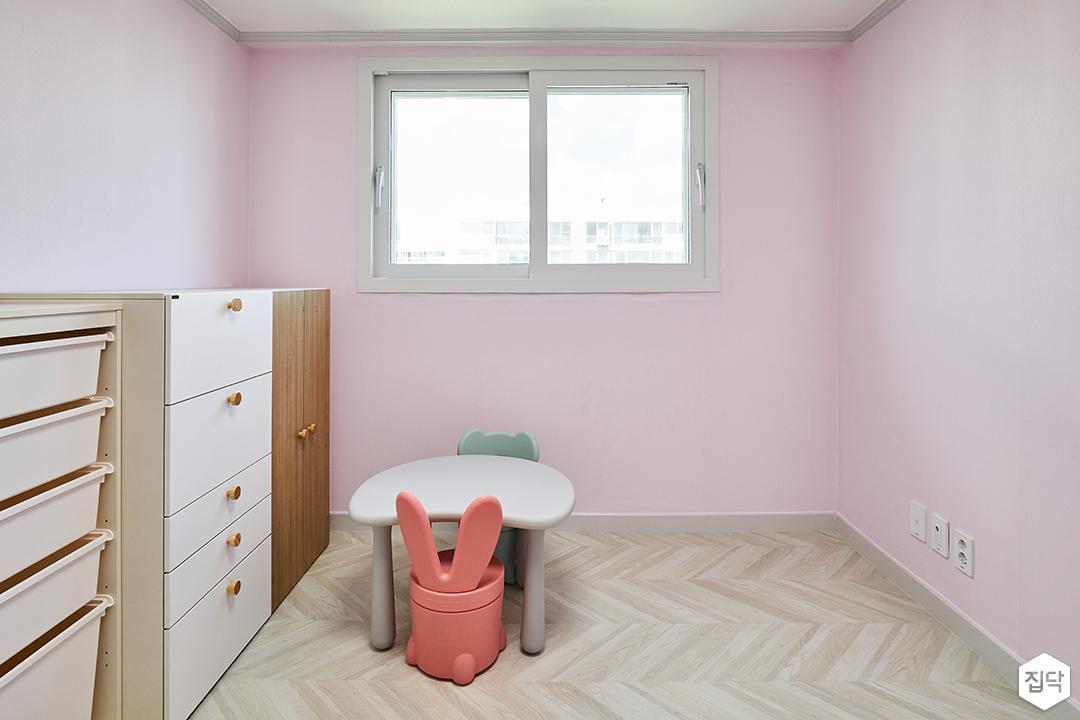 모던,심플,핑크,헤링본패턴,친환경벽지