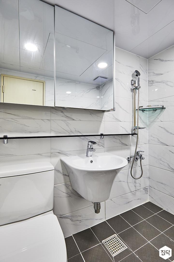 욕실,화이트,심플,세면대,코너선반,슬라이딩거울장