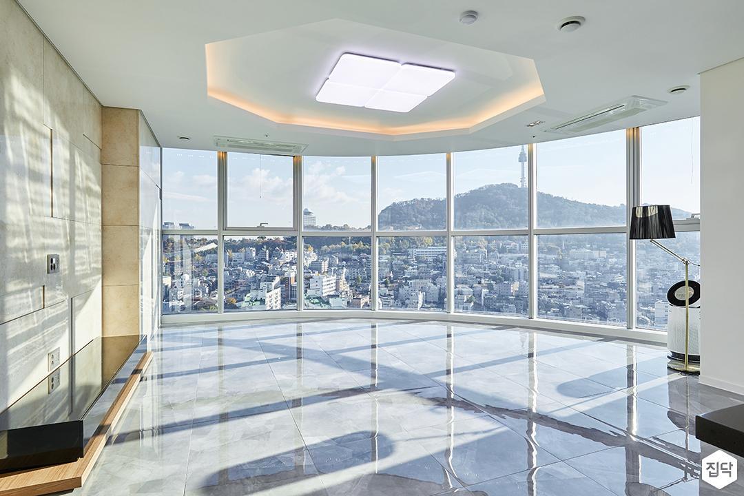 거실,화이트,모던,우물천장,간접조명,LED조명